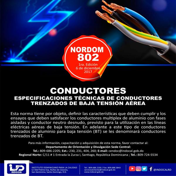 NORDOM 802: ESPECIFICACIONES TÉCNICAS DE CONDUCTORES TRENZADOS DE BAJA TENSIÓN AÉREA