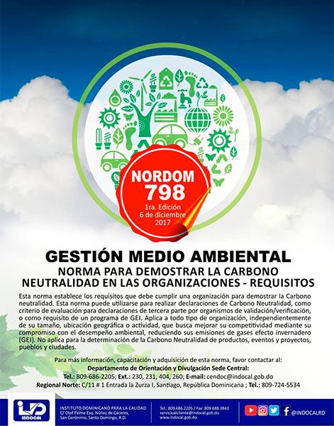 NORDOM 798 GESTIÓN MEDIO AMBIENTAL – NORMA PARA DEMOSTRAR LA CARBONO NEUTRALIDAD EN LAS ORGANIZACIONES